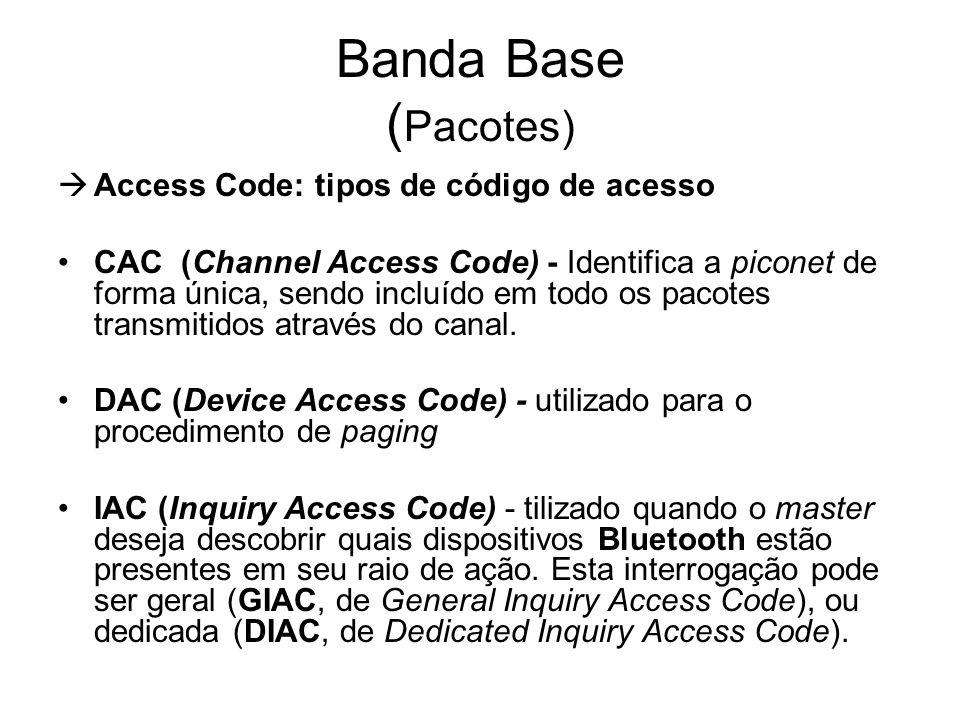 Banda Base (Pacotes) Access Code: tipos de código de acesso