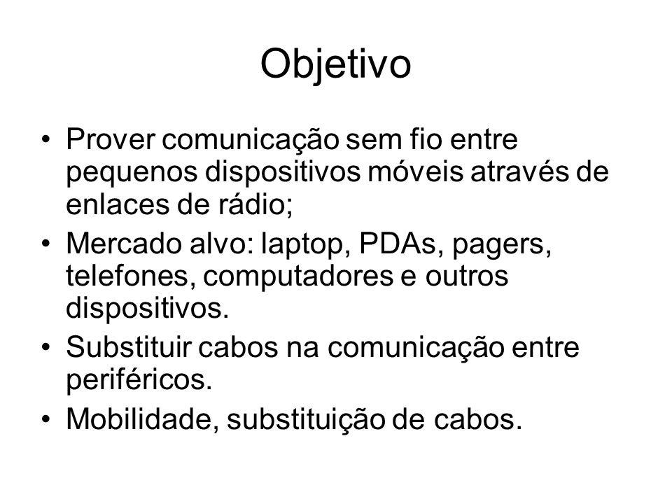 Objetivo Prover comunicação sem fio entre pequenos dispositivos móveis através de enlaces de rádio;