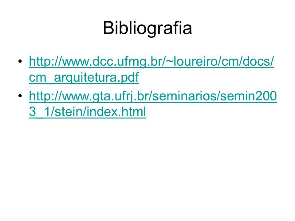 Bibliografia http://www.dcc.ufmg.br/~loureiro/cm/docs/cm_arquitetura.pdf.