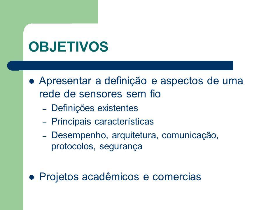 OBJETIVOS Apresentar a definição e aspectos de uma rede de sensores sem fio. Definições existentes.