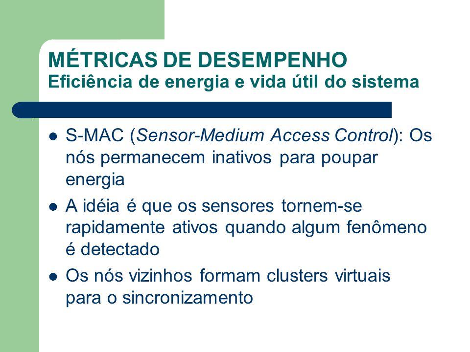 MÉTRICAS DE DESEMPENHO Eficiência de energia e vida útil do sistema