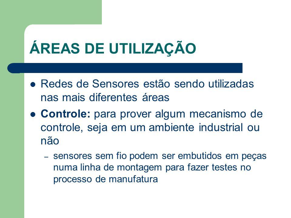 ÁREAS DE UTILIZAÇÃO Redes de Sensores estão sendo utilizadas nas mais diferentes áreas.