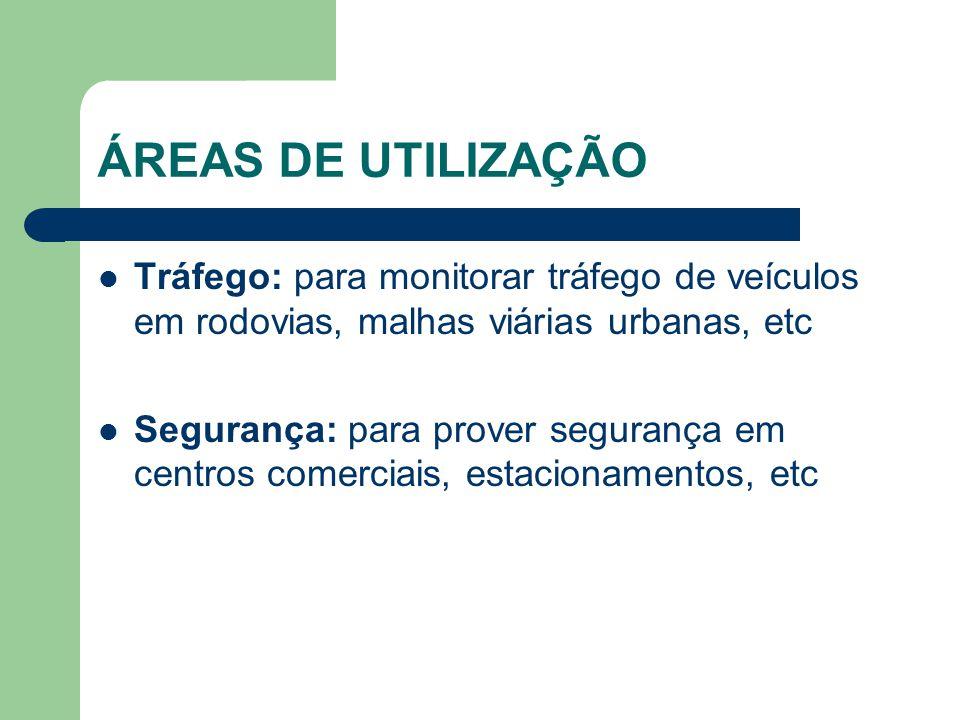 ÁREAS DE UTILIZAÇÃO Tráfego: para monitorar tráfego de veículos em rodovias, malhas viárias urbanas, etc.
