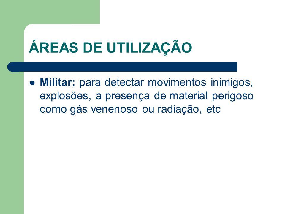 ÁREAS DE UTILIZAÇÃO Militar: para detectar movimentos inimigos, explosões, a presença de material perigoso como gás venenoso ou radiação, etc.
