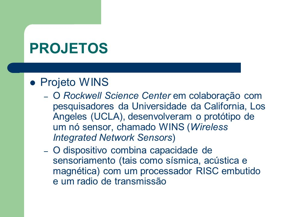 PROJETOS Projeto WINS.