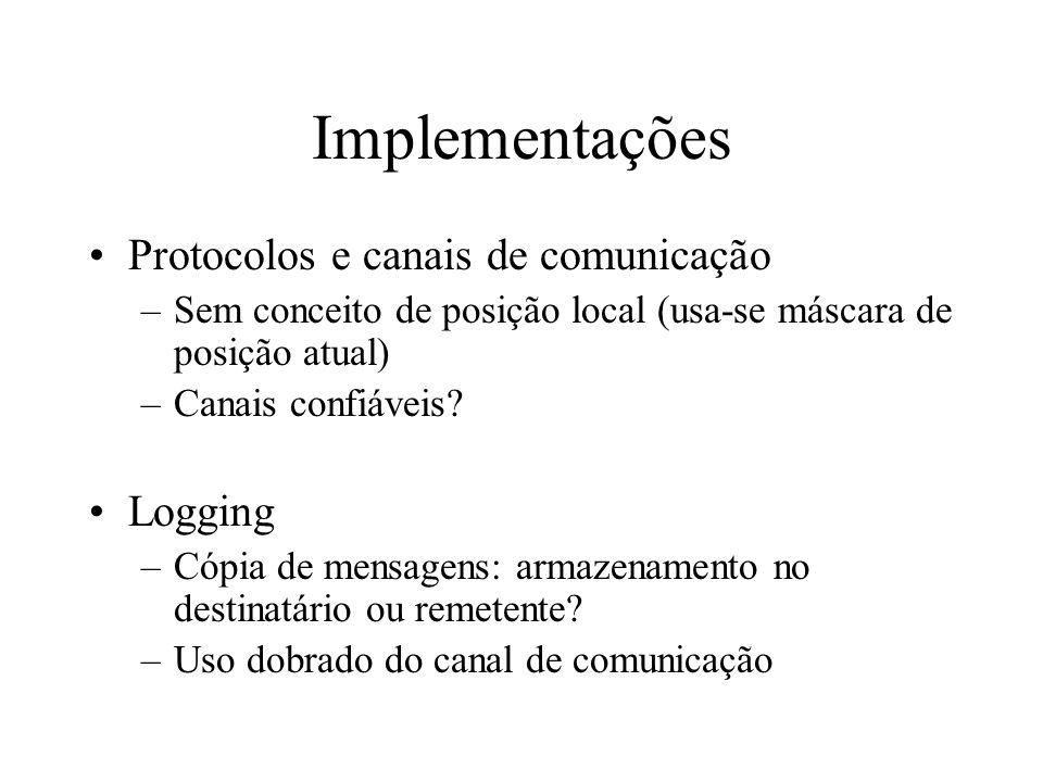 Implementações Protocolos e canais de comunicação Logging
