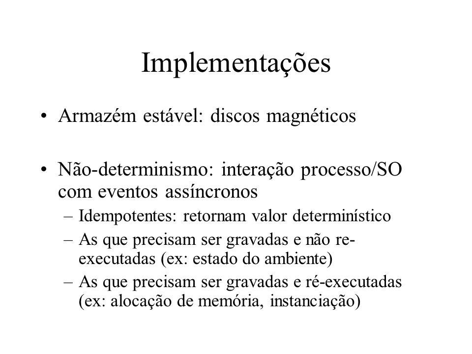 Implementações Armazém estável: discos magnéticos