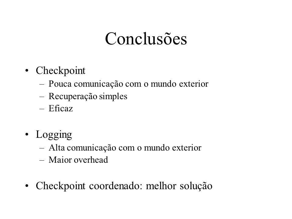 Conclusões Checkpoint Logging Checkpoint coordenado: melhor solução