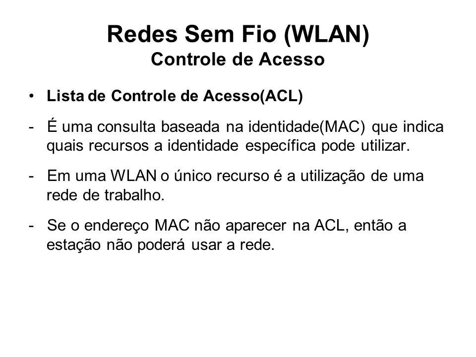 Redes Sem Fio (WLAN) Controle de Acesso