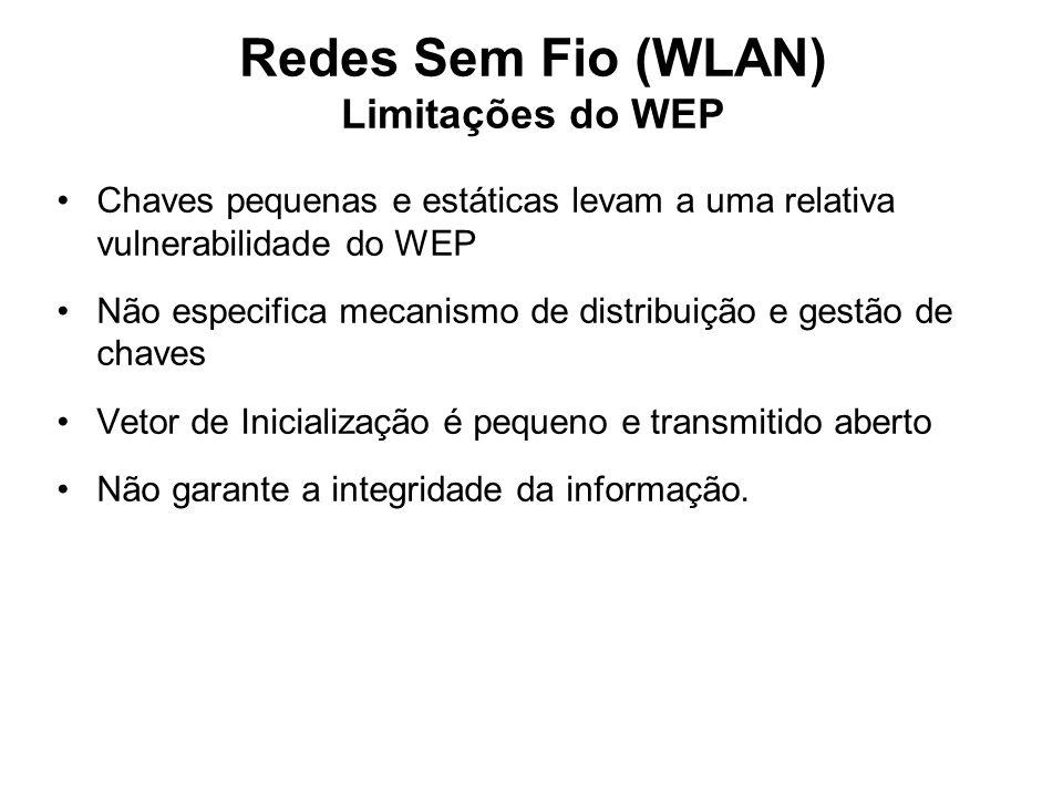 Redes Sem Fio (WLAN) Limitações do WEP