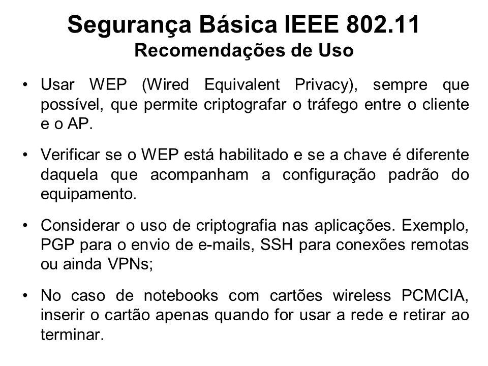Segurança Básica IEEE 802.11 Recomendações de Uso