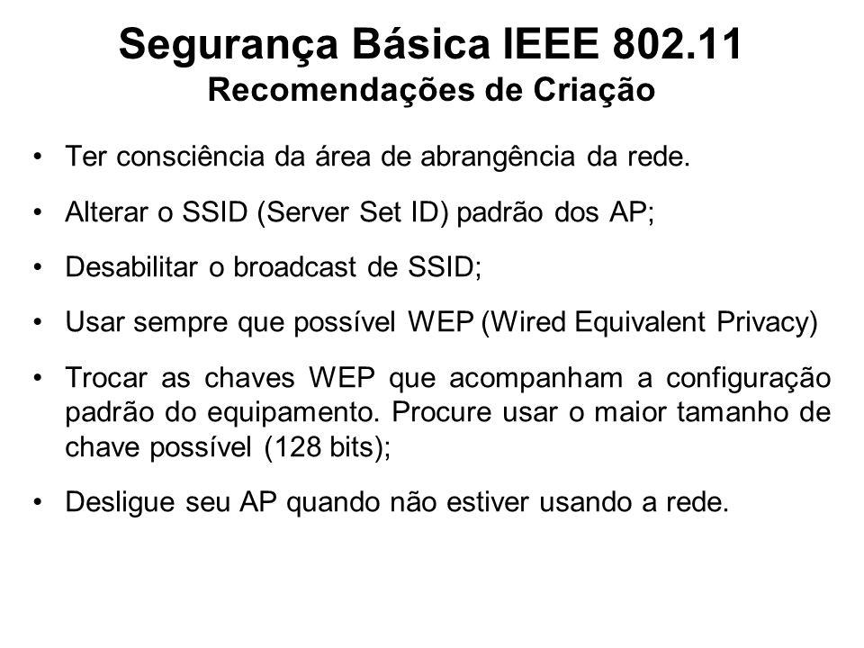 Segurança Básica IEEE 802.11 Recomendações de Criação