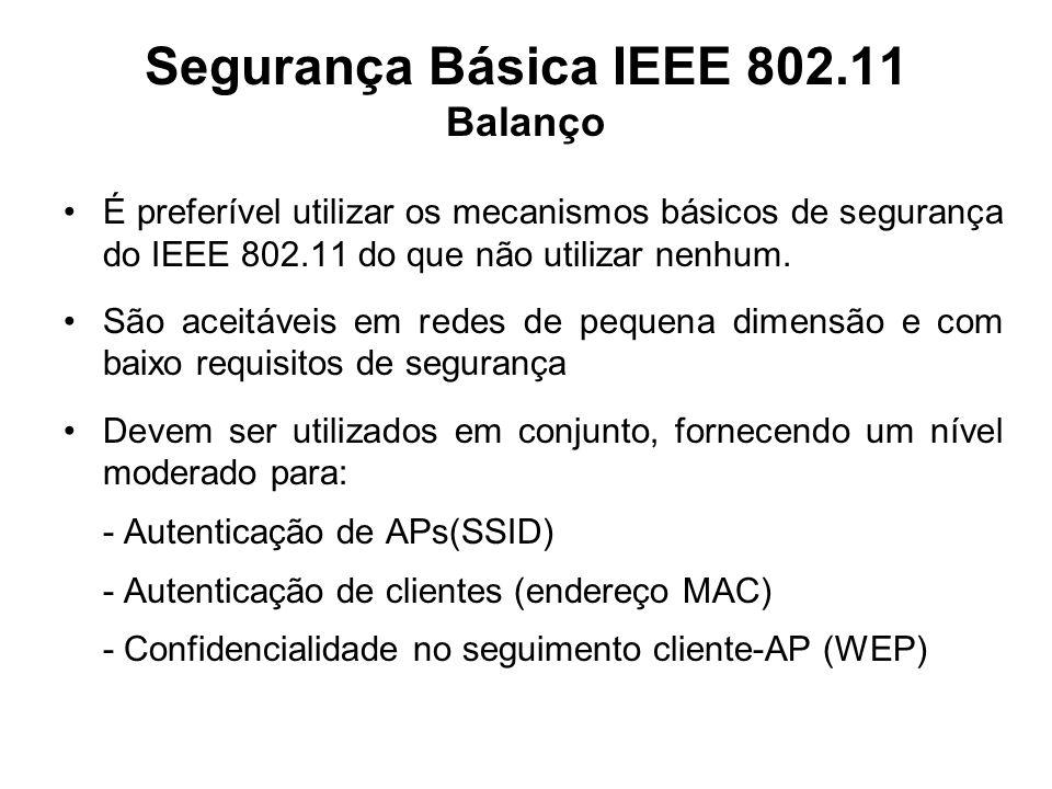 Segurança Básica IEEE 802.11 Balanço
