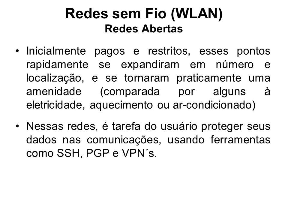 Redes sem Fio (WLAN) Redes Abertas