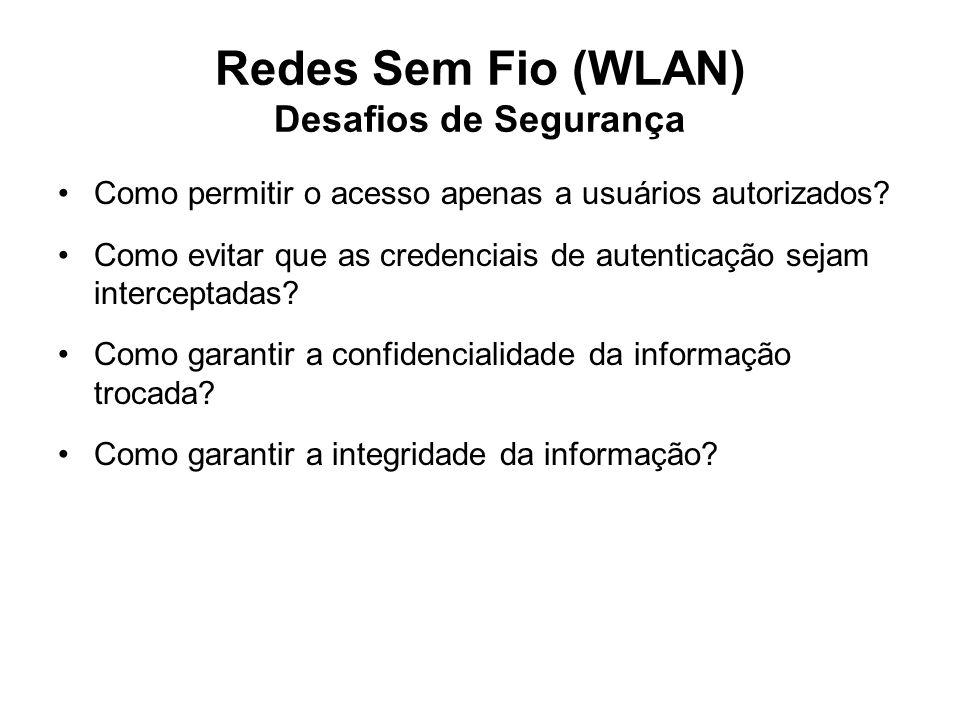 Redes Sem Fio (WLAN) Desafios de Segurança