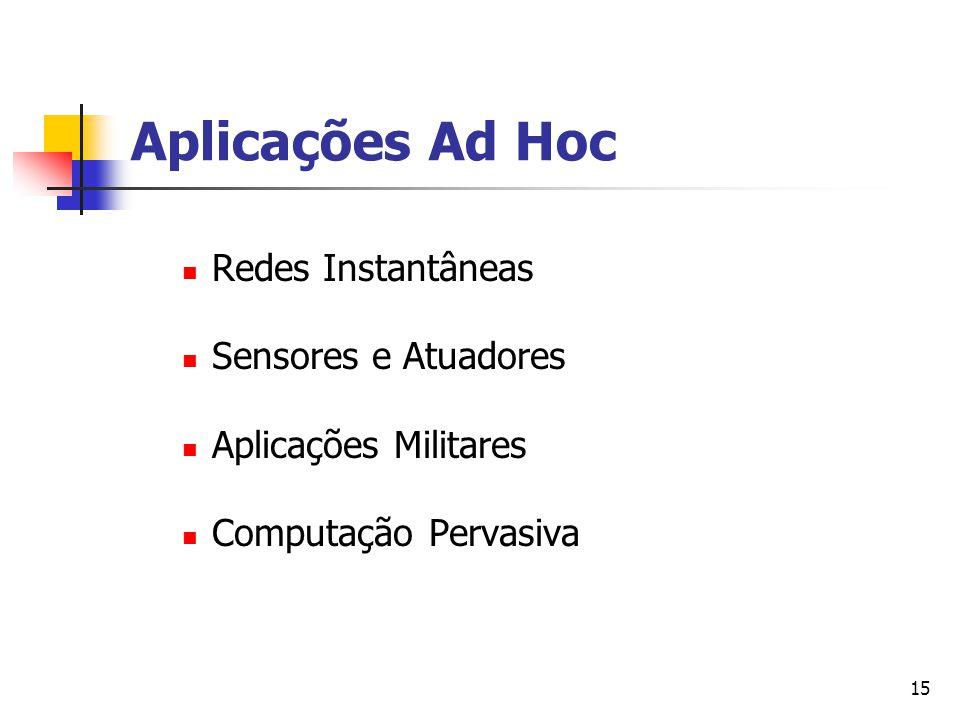 Aplicações Ad Hoc Redes Instantâneas Sensores e Atuadores