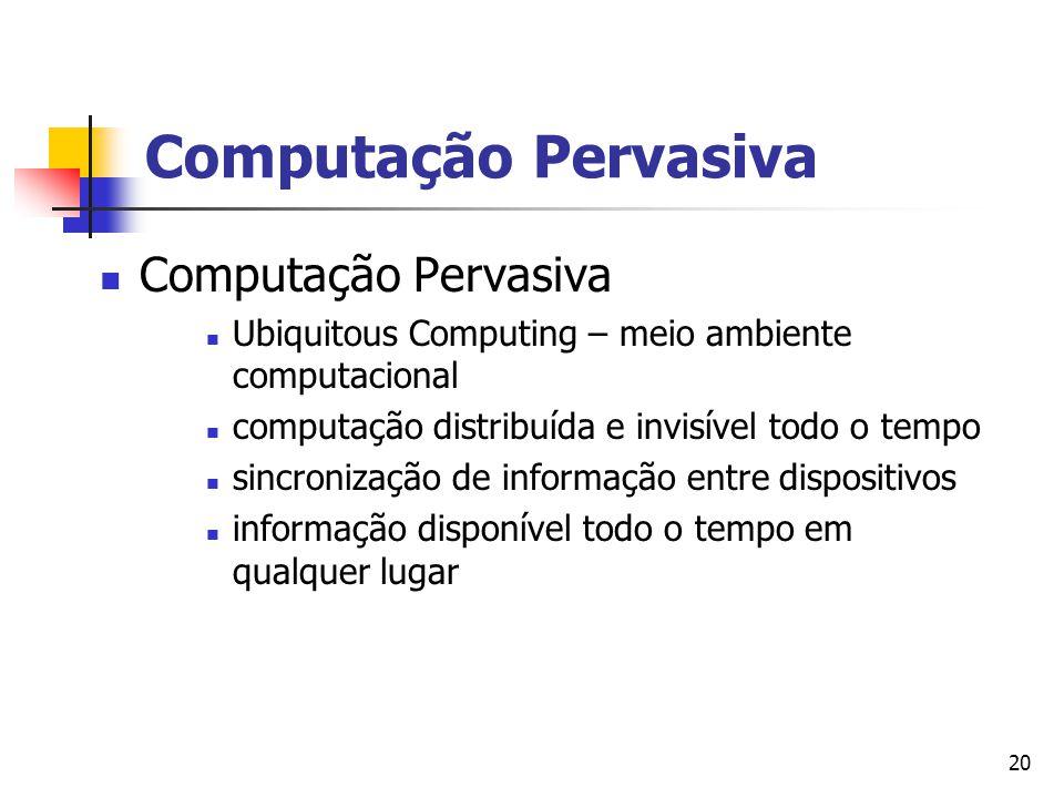 Computação Pervasiva Computação Pervasiva