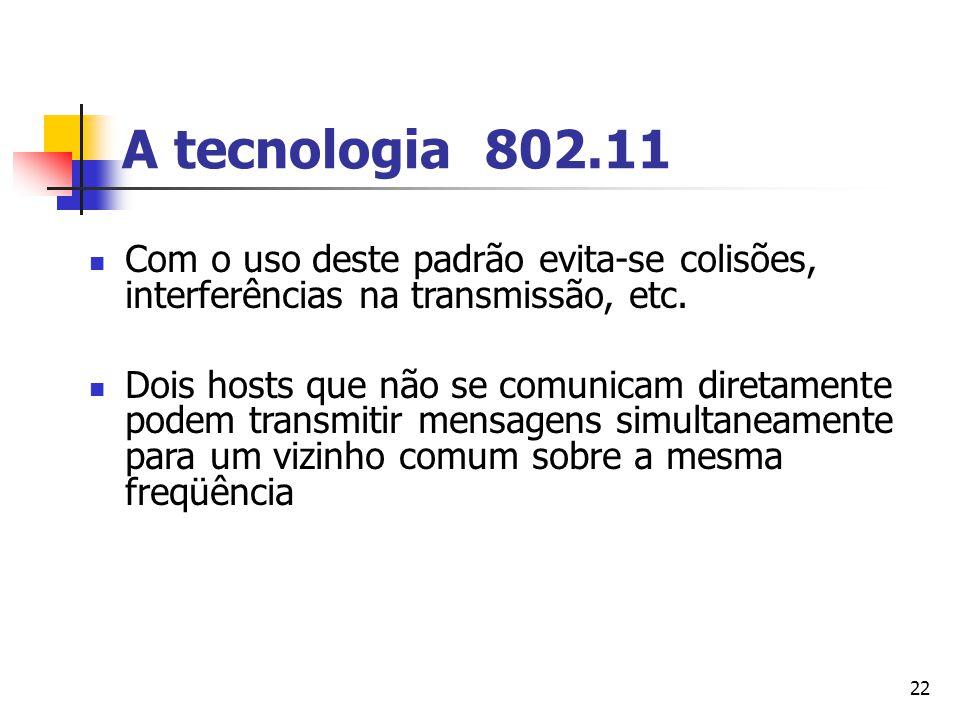 A tecnologia 802.11 Com o uso deste padrão evita-se colisões, interferências na transmissão, etc.