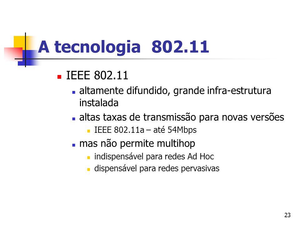 A tecnologia 802.11 IEEE 802.11. altamente difundido, grande infra-estrutura instalada. altas taxas de transmissão para novas versões.