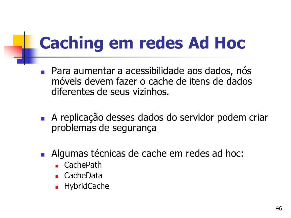 Caching em redes Ad Hoc Para aumentar a acessibilidade aos dados, nós móveis devem fazer o cache de itens de dados diferentes de seus vizinhos.