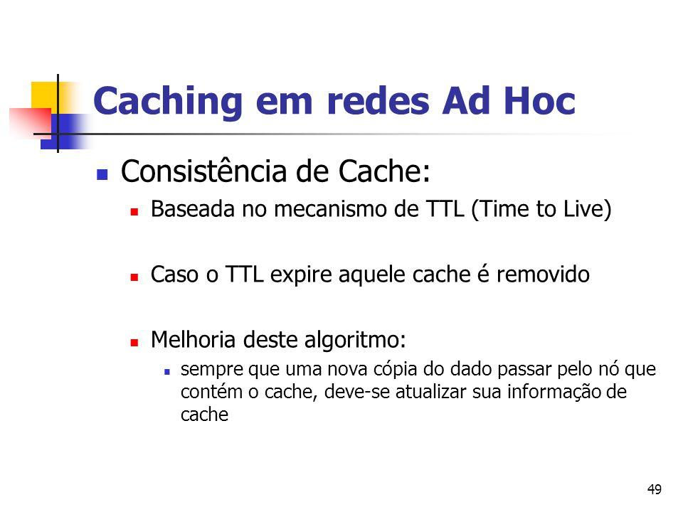 Caching em redes Ad Hoc Consistência de Cache: