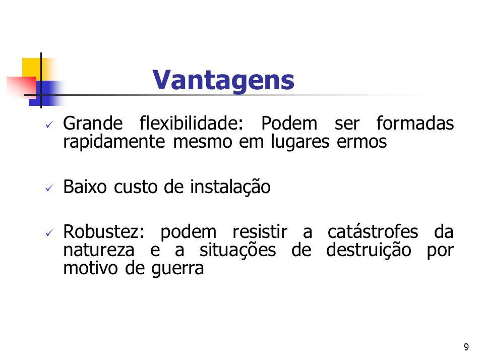 Vantagens Grande flexibilidade: Podem ser formadas rapidamente mesmo em lugares ermos. Baixo custo de instalação.
