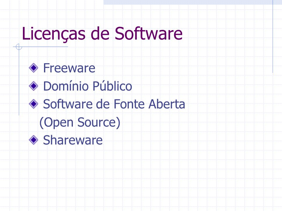 Licenças de Software Freeware Domínio Público Software de Fonte Aberta