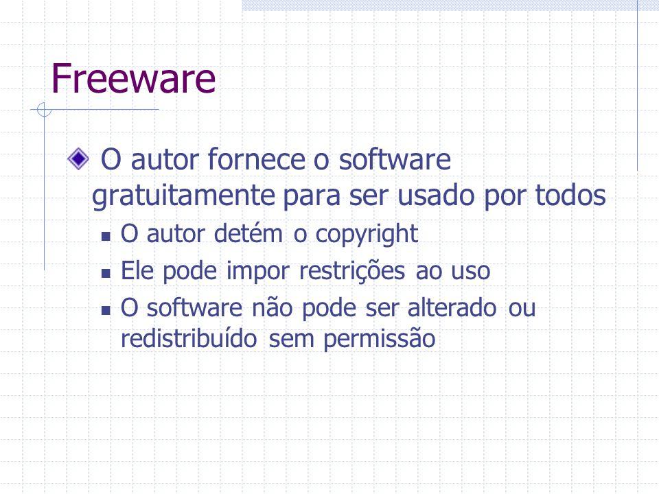 Freeware O autor fornece o software gratuitamente para ser usado por todos. O autor detém o copyright.