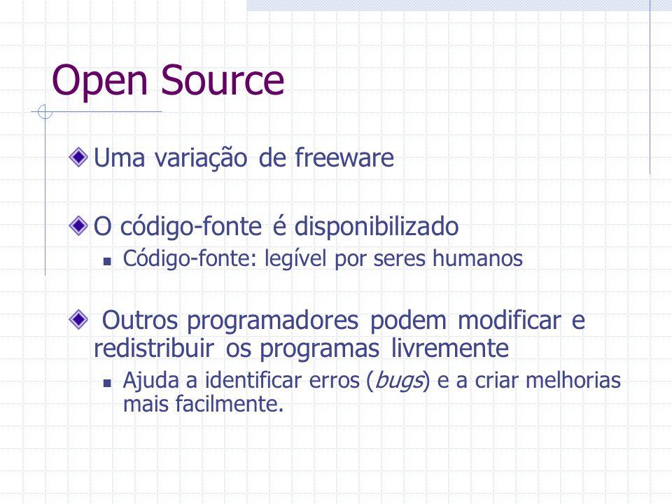 Open Source Uma variação de freeware O código-fonte é disponibilizado
