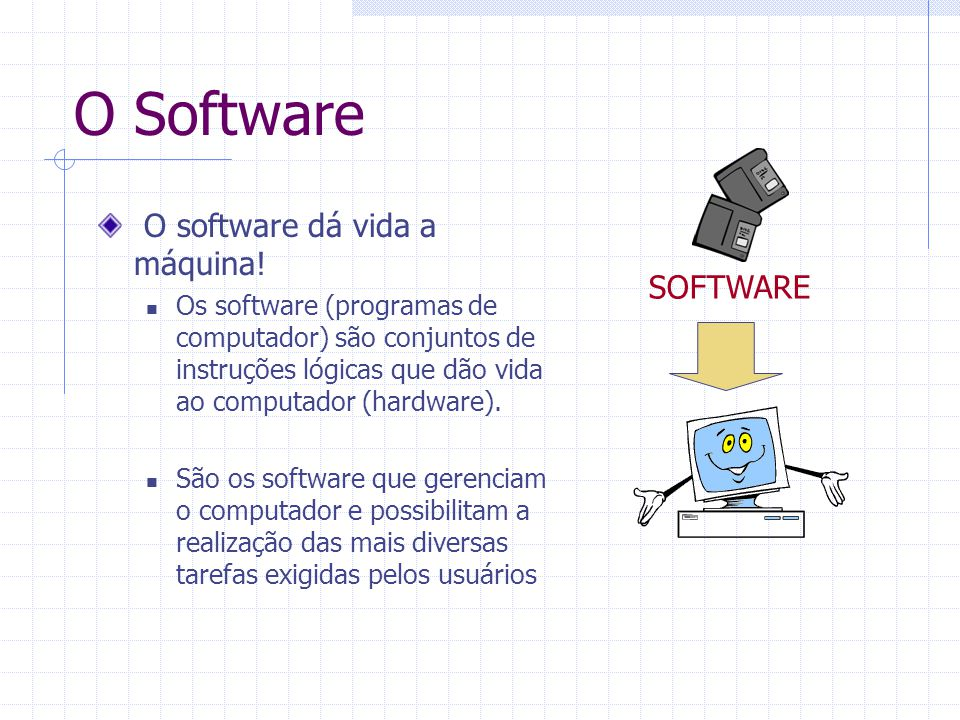 O Software O software dá vida a máquina! SOFTWARE