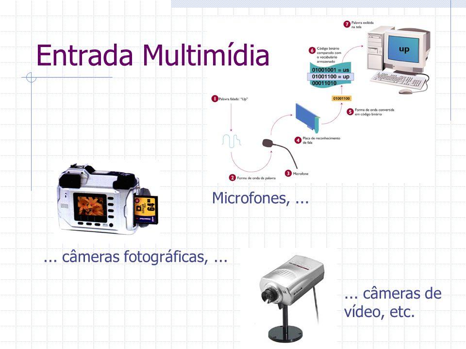 Entrada Multimídia Microfones, ... ... câmeras fotográficas, ...