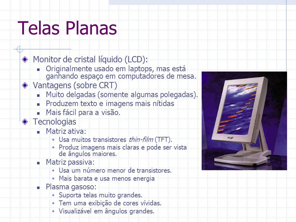Telas Planas Monitor de cristal líquido (LCD): Vantagens (sobre CRT)