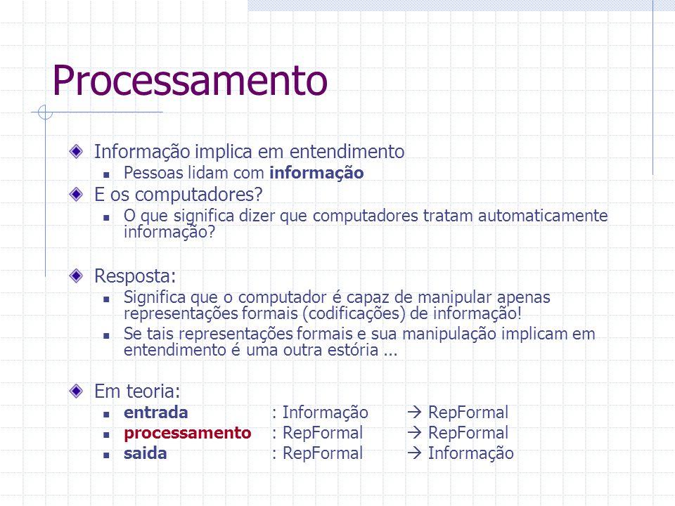Processamento Informação implica em entendimento E os computadores