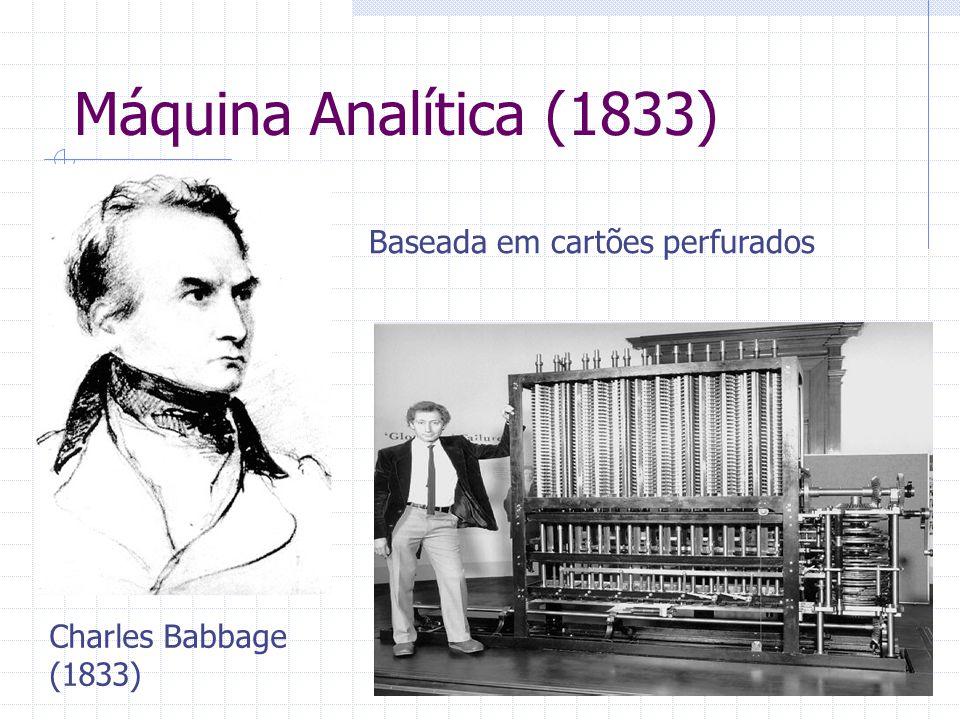 Máquina Analítica (1833) Baseada em cartões perfurados Charles Babbage