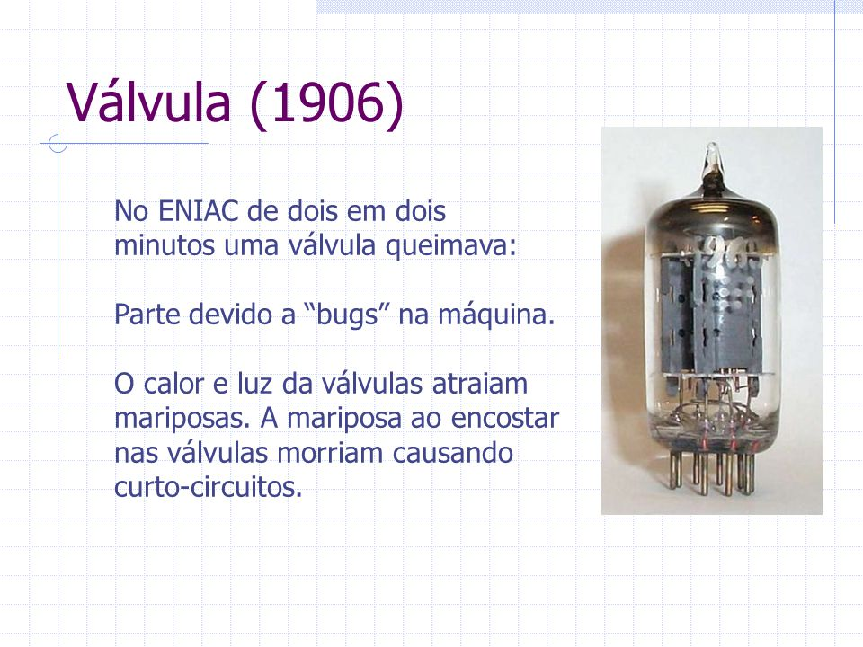 Válvula (1906) No ENIAC de dois em dois minutos uma válvula queimava: