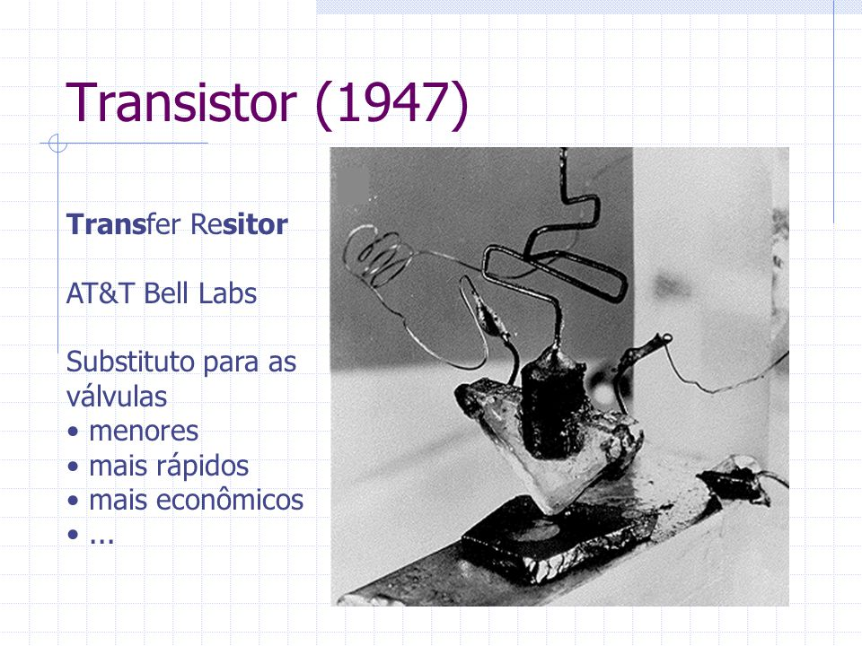 Transistor (1947) Transfer Resitor AT&T Bell Labs Substituto para as