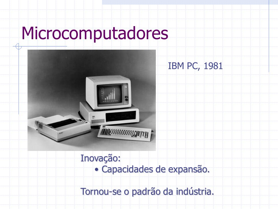 Microcomputadores IBM PC, 1981 Inovação: Capacidades de expansão.