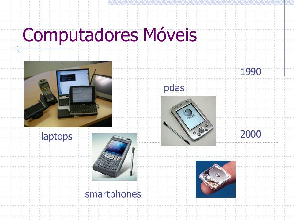 Computadores Móveis 1990 pdas 2000 laptops smartphones