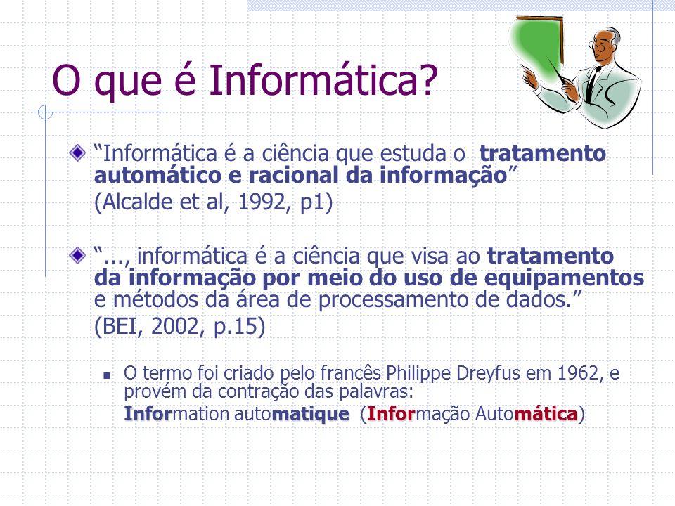 O que é Informática Informática é a ciência que estuda o tratamento automático e racional da informação
