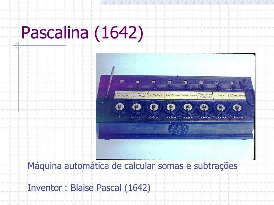 Pascalina (1642) Máquina automática de calcular somas e subtrações