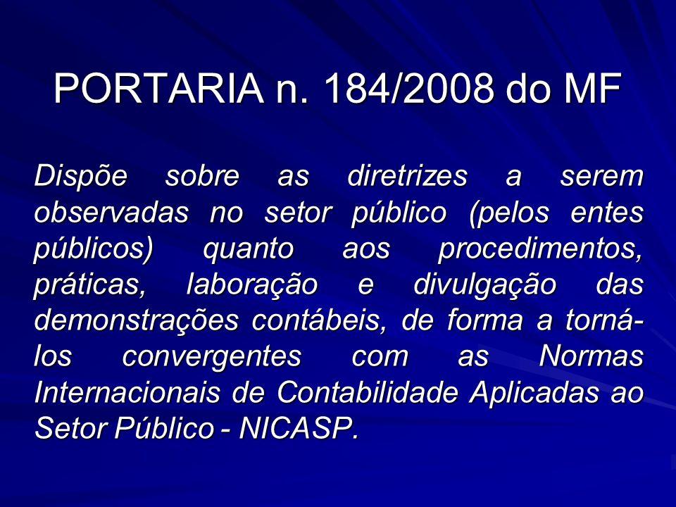 PORTARIA n. 184/2008 do MF