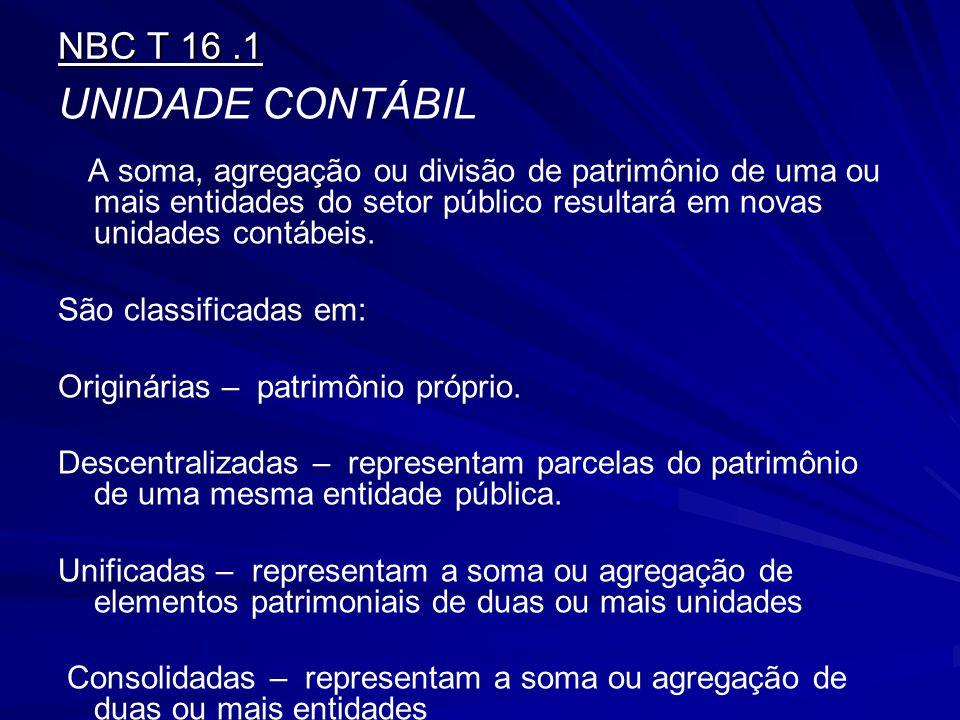 UNIDADE CONTÁBIL NBC T 16 .1 São classificadas em: