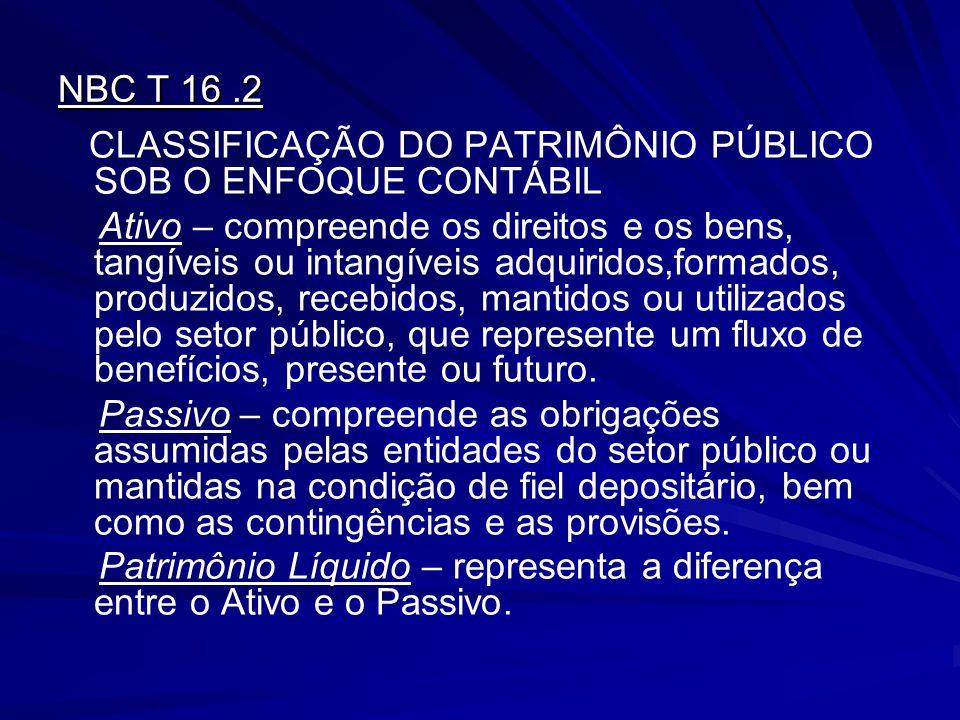 NBC T 16 .2 CLASSIFICAÇÃO DO PATRIMÔNIO PÚBLICO SOB O ENFOQUE CONTÁBIL.