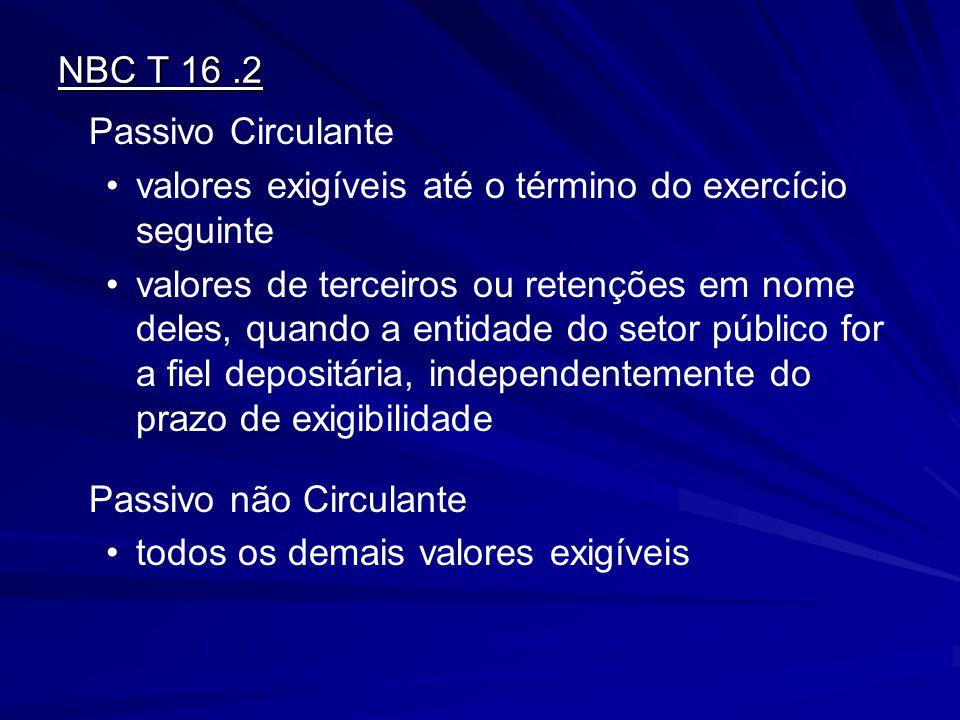 NBC T 16 .2 Passivo Circulante. valores exigíveis até o término do exercício seguinte.