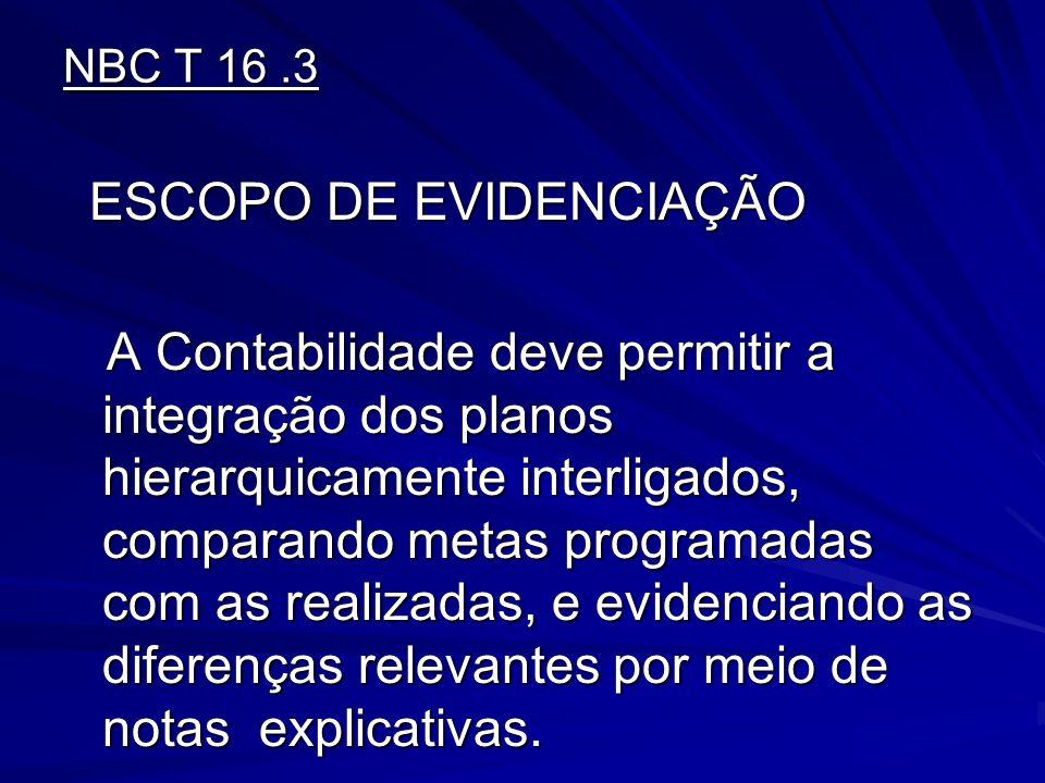NBC T 16 .3 ESCOPO DE EVIDENCIAÇÃO.