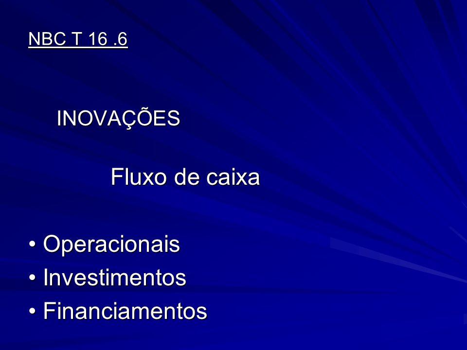 Operacionais Investimentos Financiamentos INOVAÇÕES NBC T 16 .6