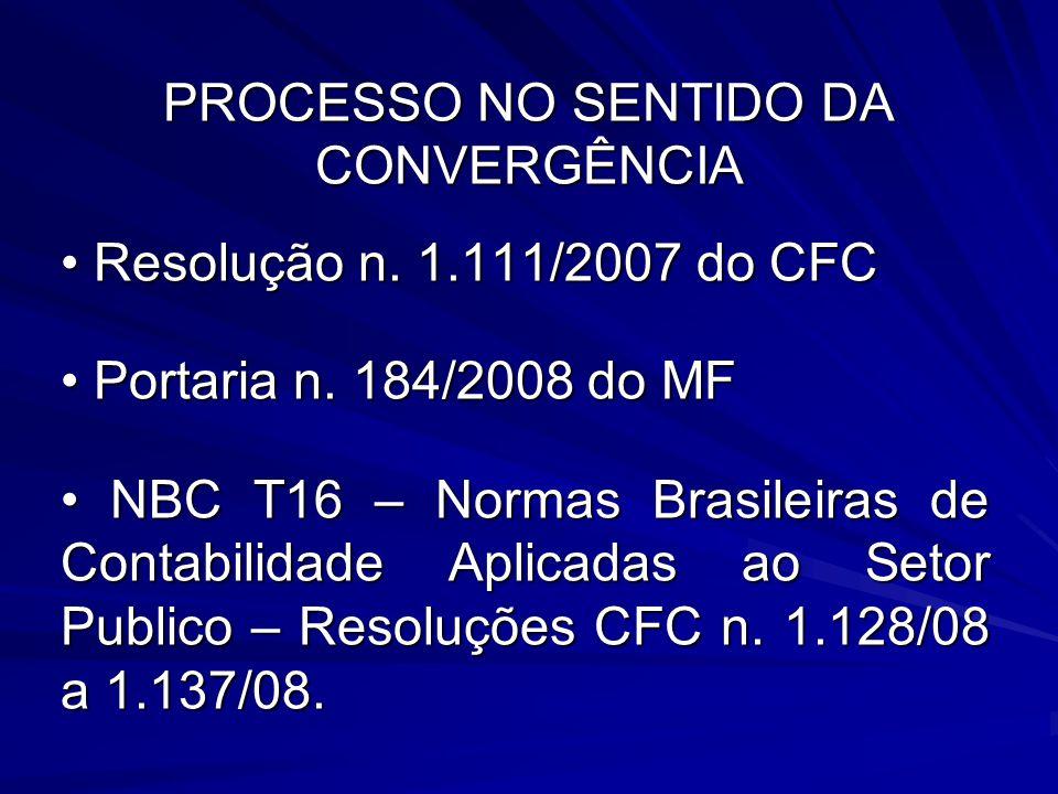 PROCESSO NO SENTIDO DA CONVERGÊNCIA