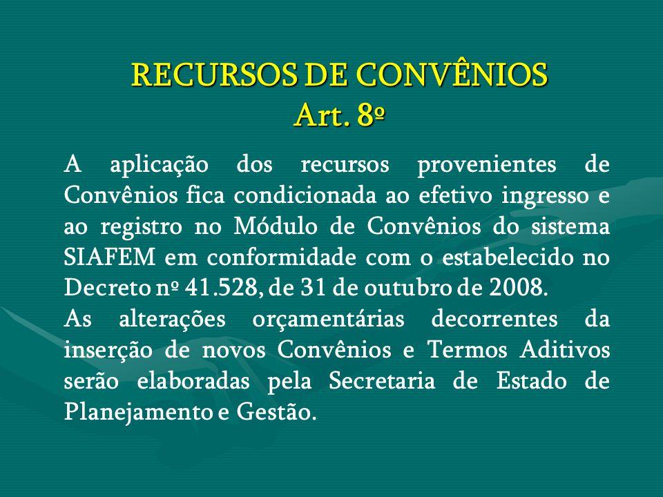 RECURSOS DE CONVÊNIOS Art. 8º