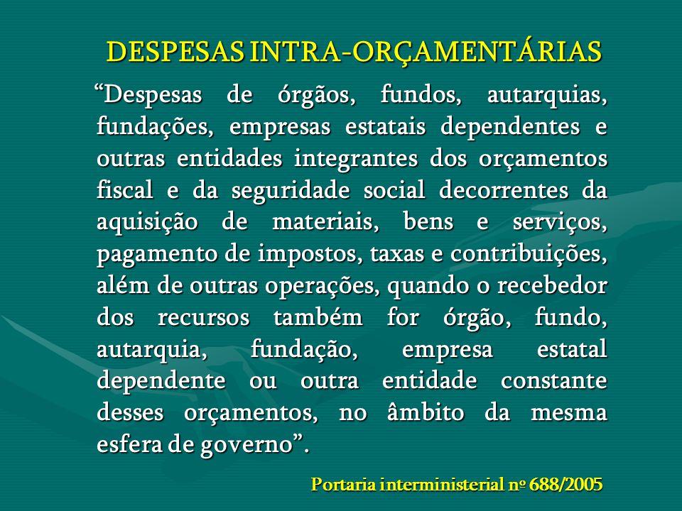 DESPESAS INTRA-ORÇAMENTÁRIAS