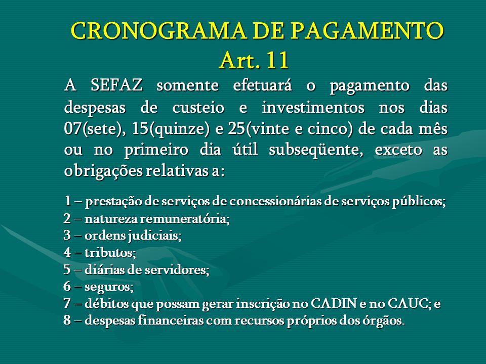 CRONOGRAMA DE PAGAMENTO Art. 11
